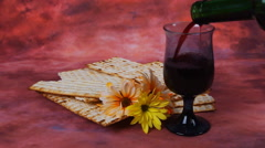 Background with matzo for Jewish Passover celebration Stock Footage