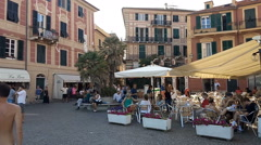 Celle Ligure Town square Stock Footage