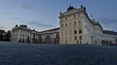 Prague Castle at night - sunset. Shot of Castle Square after sunset. Stock Footage
