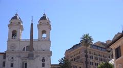 UHD 4K Church catholic in Rome city piazza di spagna landmark Italian cityscape  Stock Footage