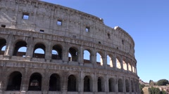UHD 4K Panorama PAN shot Colosseum building in Rome city landmark full size view Stock Footage