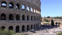UHD 4K Colosseum stadium in Rome city important landmark lots of tourists visit Stock Footage
