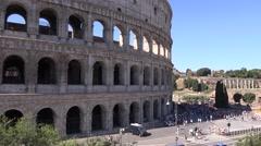 UHD 4K Colosseum stadium in Rome city important landmark lots of tourists visit - stock footage