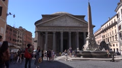 UHD 4K Rome city landmark Pantheon building tourists walking and visiting site Stock Footage