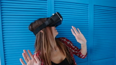 happy young woman with virtual reality headset - stock footage