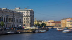 Embankment of Fontanka River timelapse hyperlapse, view from the Anichkov bridge Stock Footage