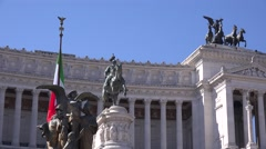 UHD 4K Rome monument landmark war horses army chariot building Vittorio Emanuele - stock footage