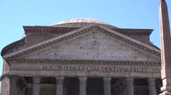 UHD 4K Pantheon building landmark in Rome and obelisk monument Italy attraction - stock footage