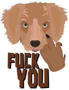 "Illustration Golden Retriever Puppy ""Fuck You"" Stock Illustration"