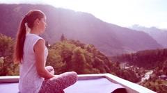 Beautiful Young Woman Doing Yoga Meditation Lotus Outdoors Sitting Asana Mat Stock Footage