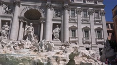 UHD 4K Trevi Fountain monument in Rome wonderful sculpture tourists admiring  Stock Footage