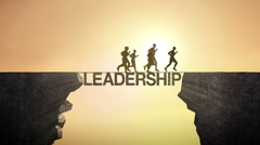 Pencil write 'Leadership', connecting the cliff. Businessman crossing the cliff. - stock footage