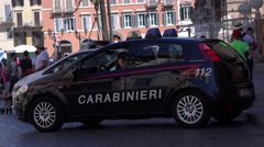 Full size Carabinieri police car in Rome Italy policewoman inside emergency call Stock Footage