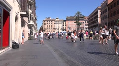 Rome city street full of tourists walking downtown Italy tourism in summer day  Stock Footage