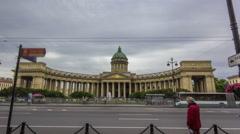 Kazan Cathedral or Kazanskiy Kafedralniy Sobor timelapse hyperlapse in Saint Stock Footage