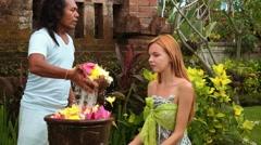 Melukat Purification Ritual in Bali for caucasian woman Stock Footage