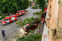 The consequences of the hurricane in Uzhgorod Stock Photos