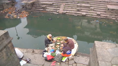 Hindu ritual in Pashupatinath Temple Stock Footage