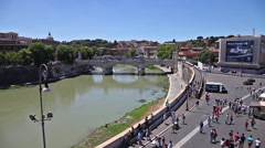 Tiber river cityscape - stock footage