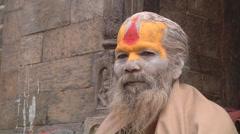 Sadhu in Pashupatinath Temple Stock Footage