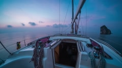 Sunrise on the sailing boat 4k Stock Footage