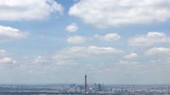 Eiffel Tower Zoom Out From Cloudy Sky, Paris Panoramic View - stock footage
