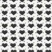 Geometric romantic line seamless pattern with hearts. Wrapping paper. Scrapbook - stock illustration