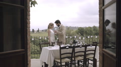 Bride and Groom kissing at wedding party Stock Footage
