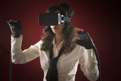 Virtual reality girl headset seek Kuvituskuvat