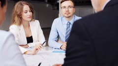 Business team with scheme meeting at office 39 Stock Footage