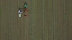 Aerial of tractor collection Hay,Middelaar,Netherlands Stock Footage