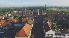 Aerial of town in Limburg with city hall,Gennep,Netherlands Stock Footage