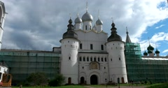 Gate Church of the Resurrection. Rostov Kremlin. The Golden ring of Russia. Stock Footage