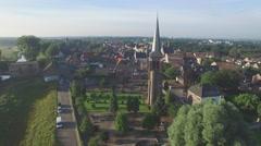 Aerial circle of Martinustoren church,Gennep,Netherlands Stock Footage