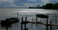 Lake Nero. Boats. Monastery of St. Jacob Saviour. Golden ring of Russia. Rostov Stock Footage
