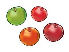Set of apples isolated on white background Stock Illustration