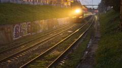 Railroad train fast movement Stock Footage