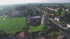 Aerial of Windmill in small Limburg village,Ottersum,Netherlands - stock footage