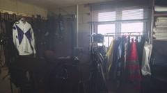 Jockey Silks and Horse Riding Equipment Room Stock Footage