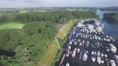 Aerial circle harbour in lake,Middelaar,Netherlands Stock Footage