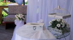 Wedding wood white box on table Stock Footage