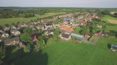 Aerial of small village in northern Limburg,Middelaar,Netherlands Stock Footage
