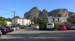 View of Meteora from Kalabaka town. Greece Stock Footage