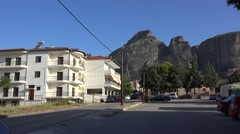 View of Meteora from Kalabaka town. Greece Stock Footage