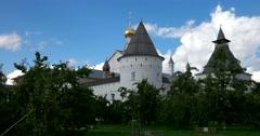 Rostov Kremlin. Orchard. The Golden ring of Russia. Rostov Veliky Stock Footage