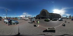 360Vr Video View of the Central Railway Station in Kiev Cobblestone Pavement at - stock footage