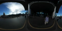 360Vr Video Man Leaves Railway Station Building George's Church at the Station Stock Footage