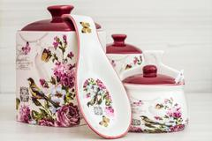 Ceramic Jars with Flower Ornaments and Birds Stock Photos