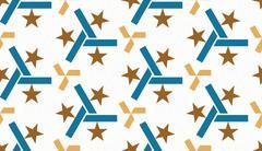 Seamless retro star pattern on white background. Positive emotions Stock Illustration