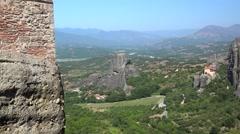 Meteora valley. Monastery of St.Nicholas Anapausas from the Monastery of Rousano Stock Footage